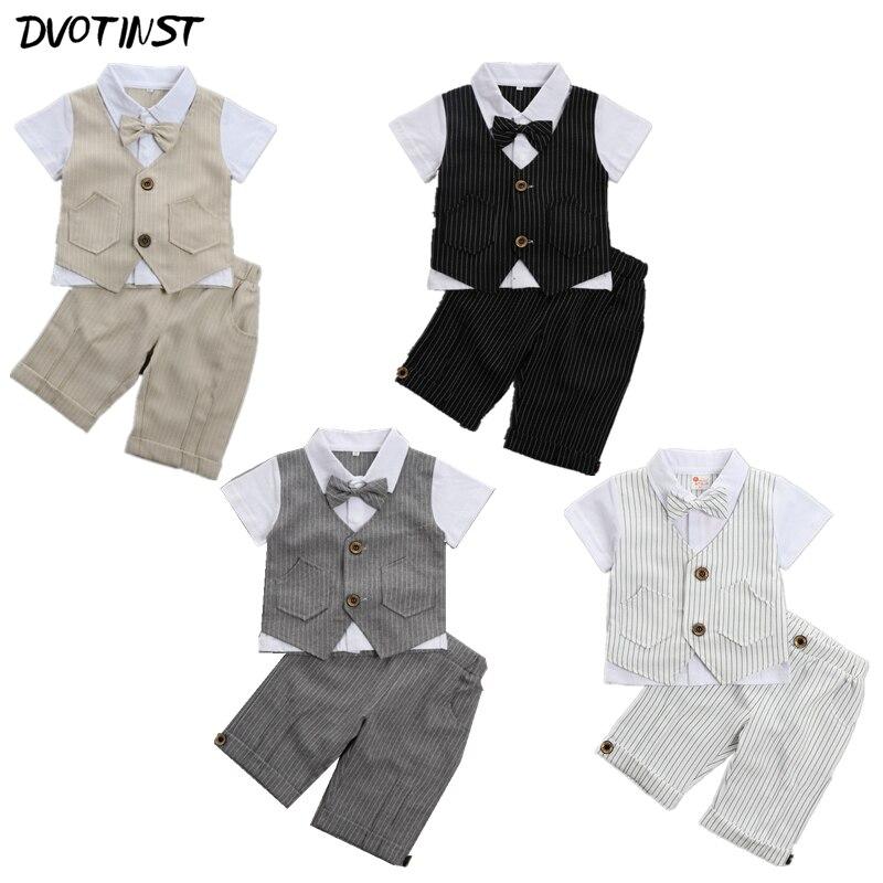 Baby Boys Clothes Summer Short Sleeves Gentleman Formal Uniform Suit 2pcs Set Outfit Infantil Event Wedding Birthday Costume