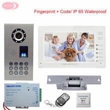 "7"" TFT Color LCD Video Doorphone System Video Door Monitor IP65 Waterproof Fingerprint  CCD Night Vision + Electronic lock Kit"