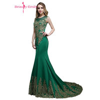 Beauty Emily Luxury Appliques Mother of the Bride Dresses 2017 Mermaid Sleeveless Floor Length Formal Wedding Party Dresses