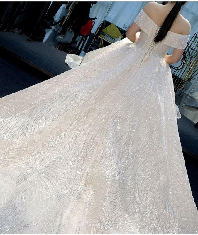 Genuino nuevo vestido completo traje de fiesta Vestidos femeninos sin hombro Slash cuello vestido de lentejuelas 2019 verano sin espalda Sexy vestido elegante - 6