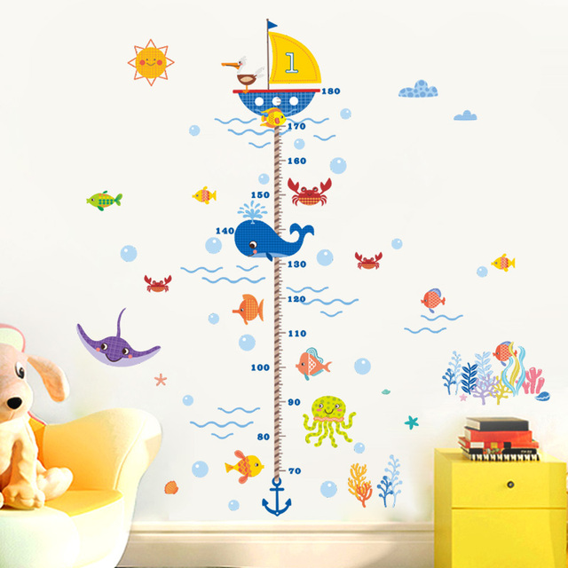 Nursery height growth chart wall sticker kids boys girls underwater sea fish anchor finding nemo decorative