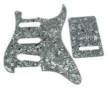 KAISH ST Pickguard,Back Plate and Screws SSS White/Black Shell