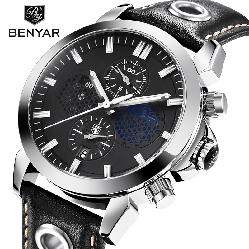 2018 NEW BENYAR Fashion Top Luxury Brand Men's Quartz Watch Military Sport Timing Leather Quartz Men's Clock montre homme saat кабельный щит brand new f98 85 58 33 sbd7781