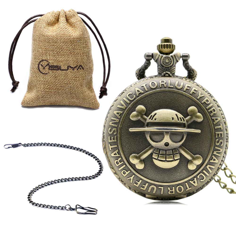 Bronze Pirate Skull One Piece Quartz Pendent Pocket Necklace Watch With Gift Box