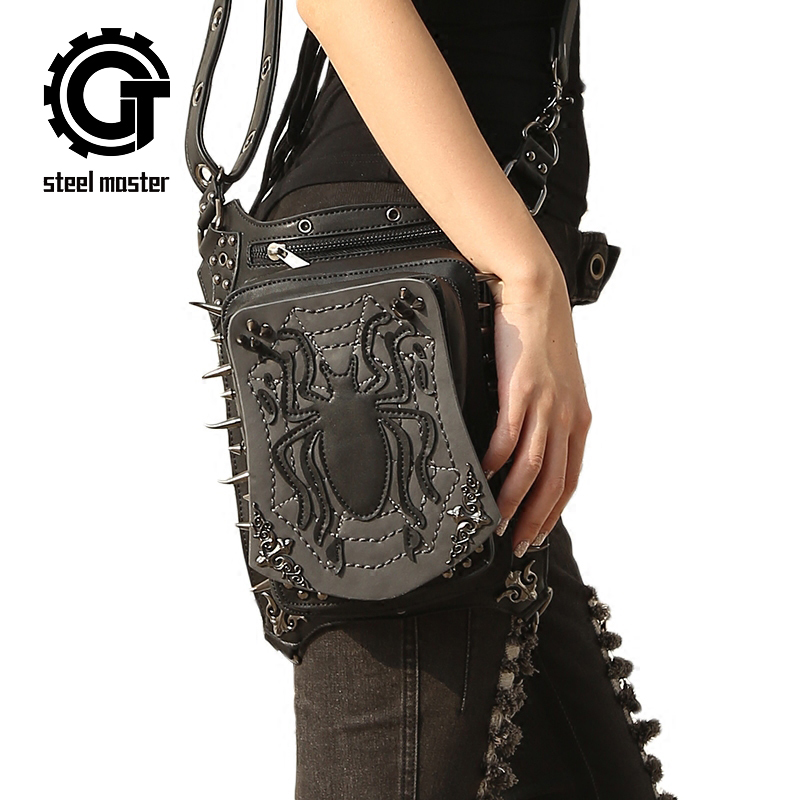 Spider Embossing Punk Waist Bag Retro Black Rivets Steampunk Shoulder Messenger Bags Fashion Vintage Gothic Leg Bag Pack