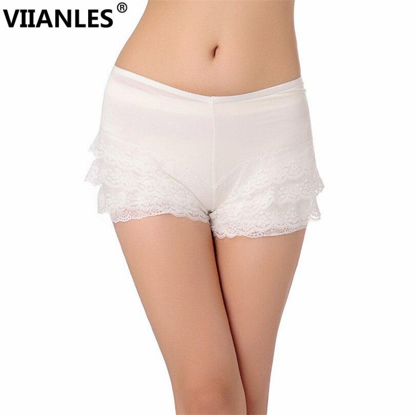 VIIANLES 2019 Fashion Summer Black White Lace Shorts Women Elastic Low Waist Short Femme Girls Under Wear Sexy Casual Shorts