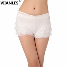 VIIANLES 2019 Fashion Summer Black White Lace Shorts Women Elastic Low Waist Short Femme Girls Under wear Sexy Casual
