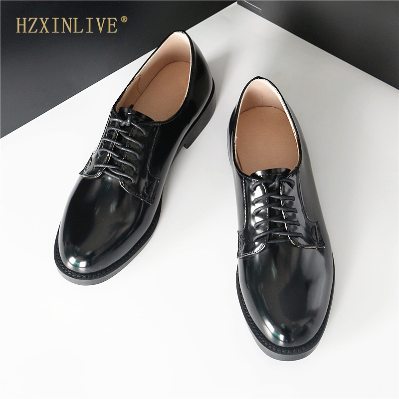 British Patent Leather Oxford Shoes for Women Lace up Shoes Woman INS Style Women Oxfords Work Shoes Women Flats HZXINLIVE xiuningyan fringe oxfords british style carved flats brogue shoes woman patent leather pointed toe platform pu shoes for women