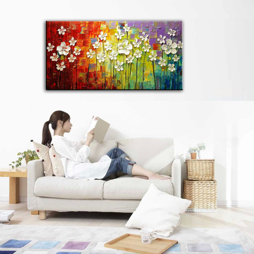 oil painting Home decoration high quality canvas Flower font b knife b font painting pictures NO