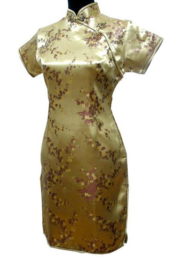 Oriental Female Satin Flower Cheongsam Oversize Gold Noble Slim Evening Dress Traditional Split Short Sleeve Rayon Qipao S-6XL