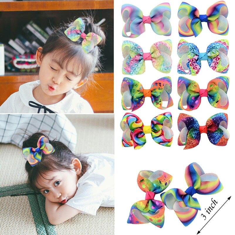 1PC Fashion Girls Hair Accessories 3 Inch Rainbow Mermaid Printed Hair Bows Hairpins Princess   Headwear   Kids Handmade Hair Clips