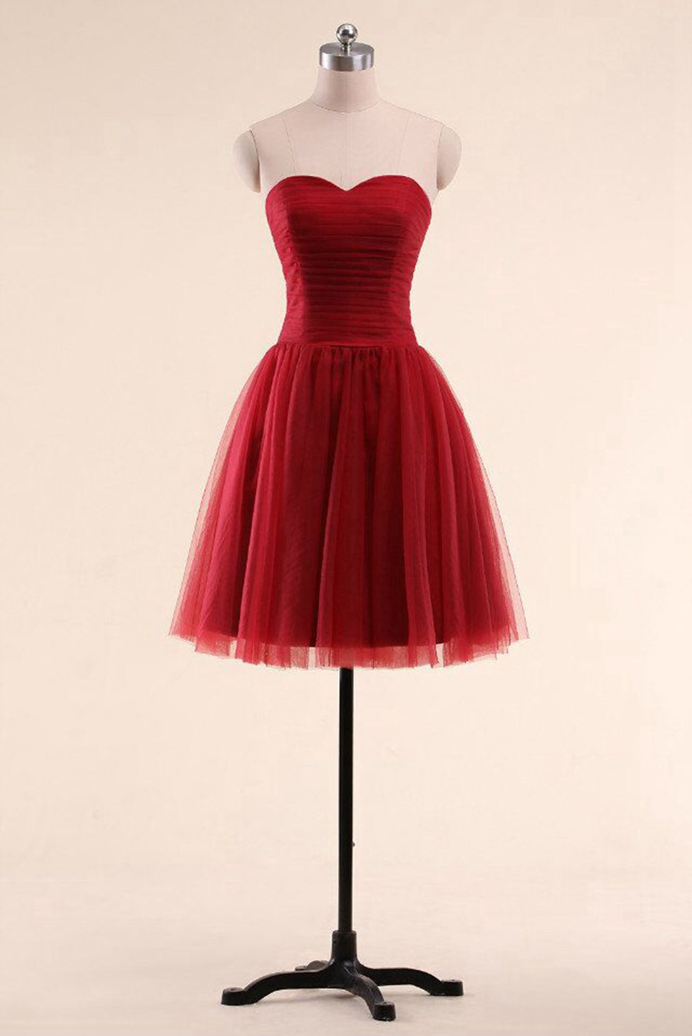 Women Burgundy Sweetheart Cocktail Gown Backless Lace up Homecoming Dresses A Line Ribbon Bow Elegant Short Party Dress in Cocktail Dresses from Weddings Events