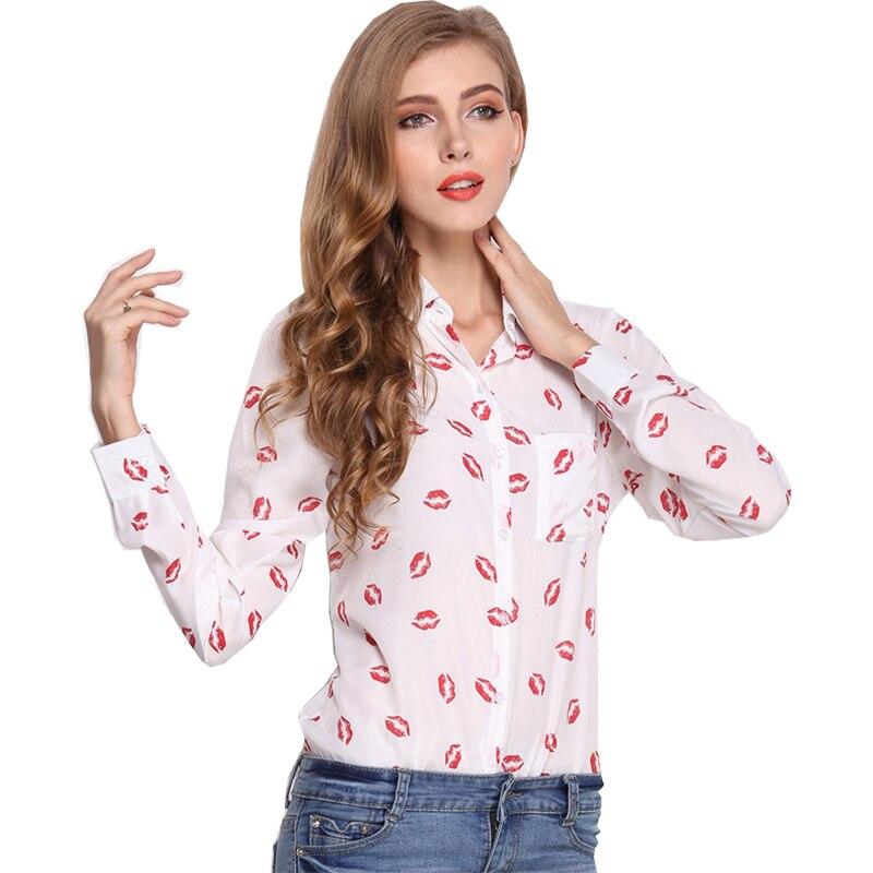 Mujeres blusas 2018 blusas mujeres de gran tamaño de solapa de manga larga labios impresión gasa personalizar cualquier color vestidos QY29