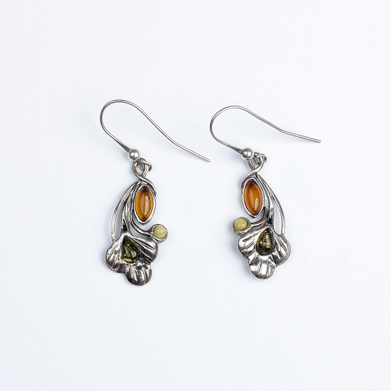 JIUDUO Elegant and soft natural amber beeswax sterling silver and more precious gold blood Po earrings specials клавиатура a4tech bloody b120 black usb