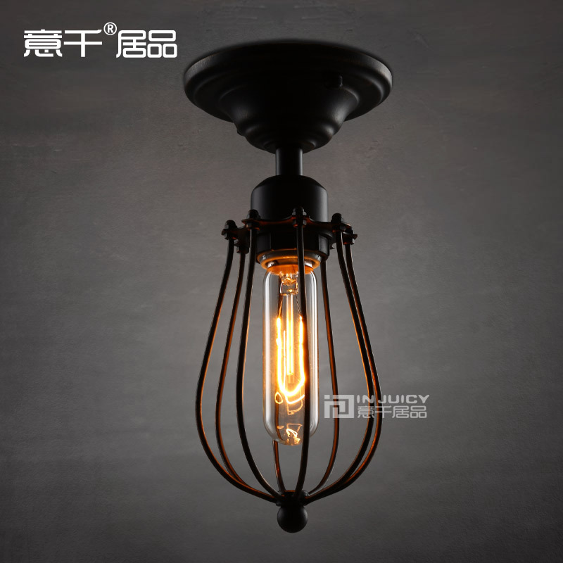 ⑦Edison Vintage Style Industrial Black Rust Mini Wire Cage Ceiling ...