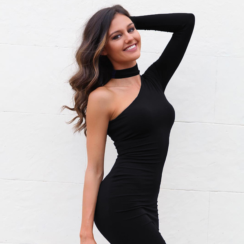 One Shoulder Halter Long Sleeve Women Pencil Dress Sexy Club Bodycon Party Dresses (24)