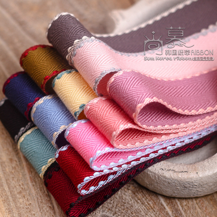 10/100yards 10/16/25/38mm stitched edge chevron korean ribbon for bouquet gift packing bow decoration hair accessories