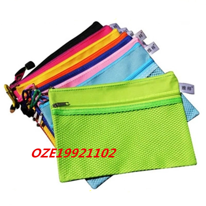 1PCS Zipper Closure 2 Pockets Canvas A5 File Bag Document Holder