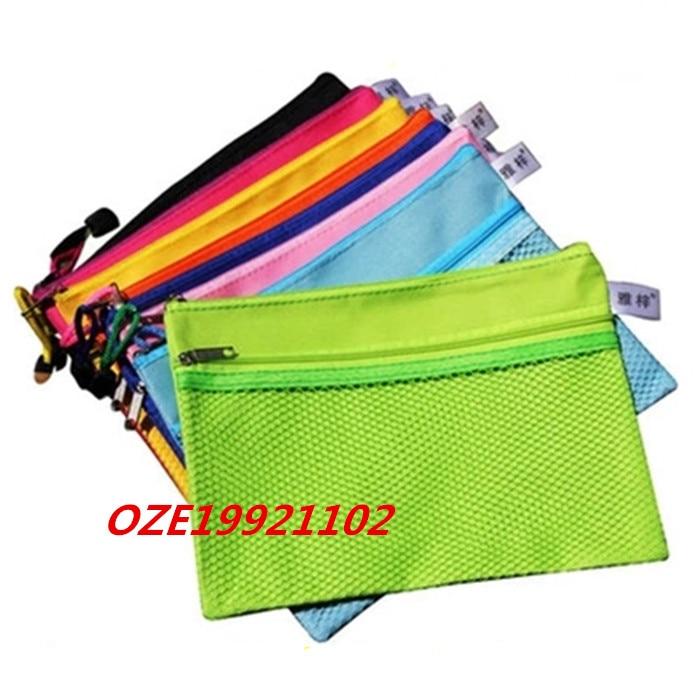 1PCS Zipper Closure 2 Pockets Canvas A5 File Bag Document Holder