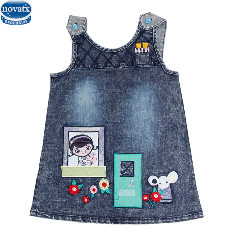 noavtx H6105 2017 new baby girl dress kids children sleeveless floral causal girl dress new cowboy