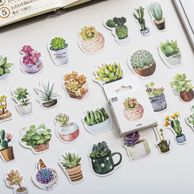 Kawaii Stationery 50pcs/lot Cute Succulent Plant Paper Sticker Decorative Adhesive Scrapbooking Diy Ablum Diary Label Stickers