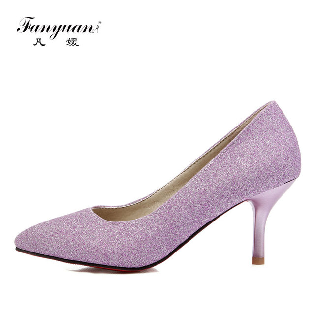 3b9b8f9e5c Fanyuan Women High Heels Pumps Purple Shoes Ladies Silver High Heels Sexy  Bling Pointed Toe Evening