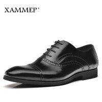 Genuine Leather Men Shoes Men Dress Shoes Brand Casual Shoes Men Business Formal Flats Gentleman Oxfords Wedding Solid Xammep