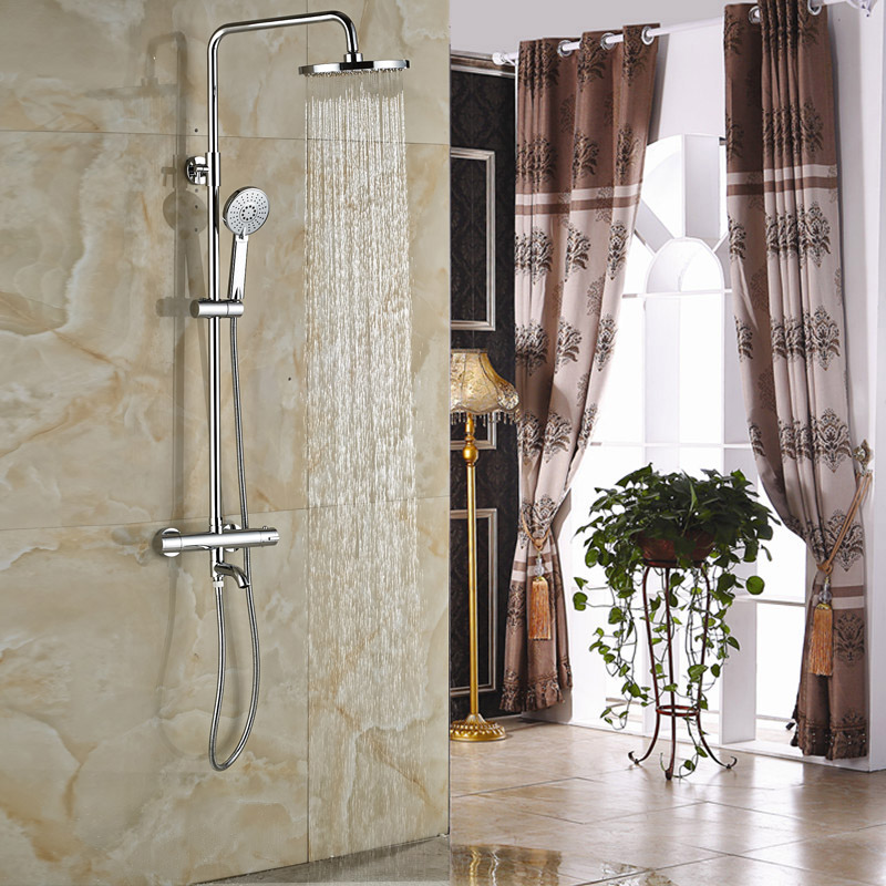 Luxury In-wall Shower Faucet with Thermostatic Mixer Valve Chrome 8