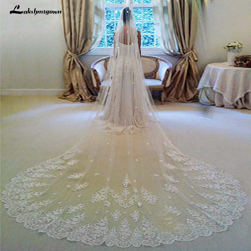In Stock 3 Meters Long Wedding Veil Bridal Veils White / Ivory Lace Edge With Comb Wedding Accessories Veil Soiree