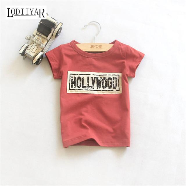 Novidade Roupas Das Meninas Dos Meninos Da Criança, Casual Coreano Carta Pullover T-shirt, moda Top T Para As Crianças, Crianças de verão Camisa Topo