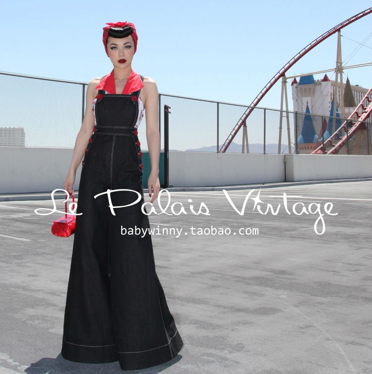 FREE SHIPPING Le Palais Vintage PIN UP Retro Classic Self Cultivation Wide Leg font b Jeans