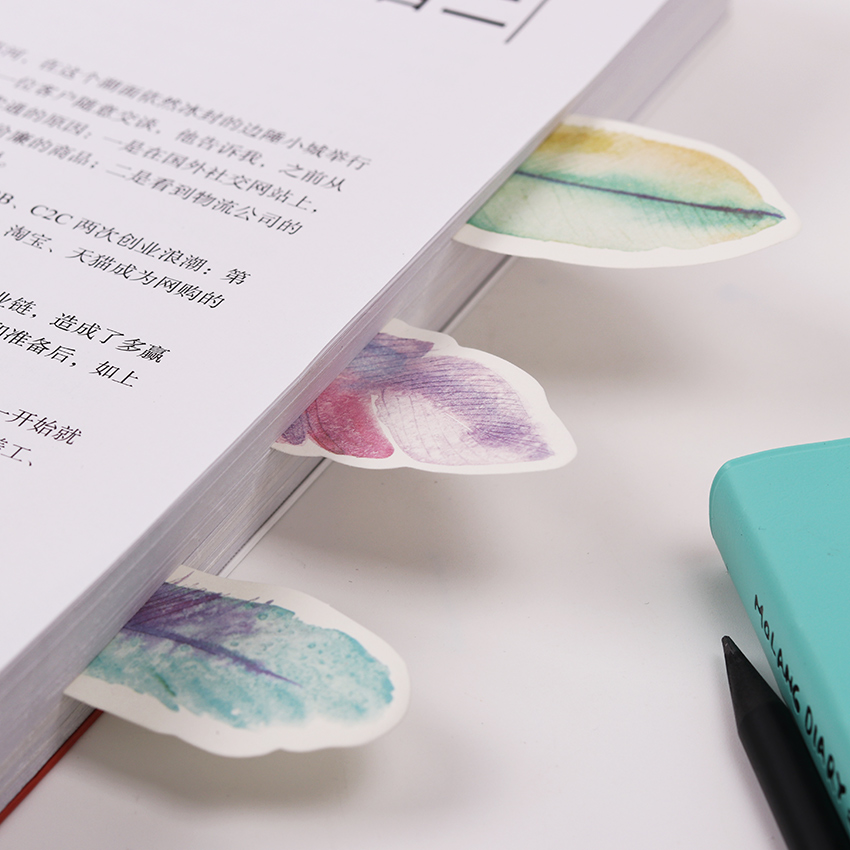 1PC The Plume Series Feather Self Adhesive Memo Pad Sticky Notes Bookmark School Office Supply