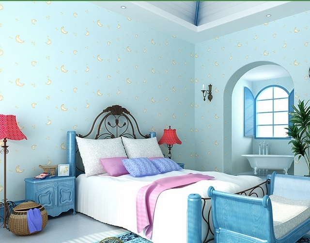 Buy Light Blue Wallpaper For Boys And Girls Room Moon Face C