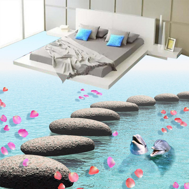 Free Shipping Stone falling water flowing dolphin 3D floor painting wear non-slip self-adhesive lobby bathroom flooring mural free shipping floating suspension mountain dolphin 3d outdoor floor painting wear non slip bedroom bathroom flooring mural