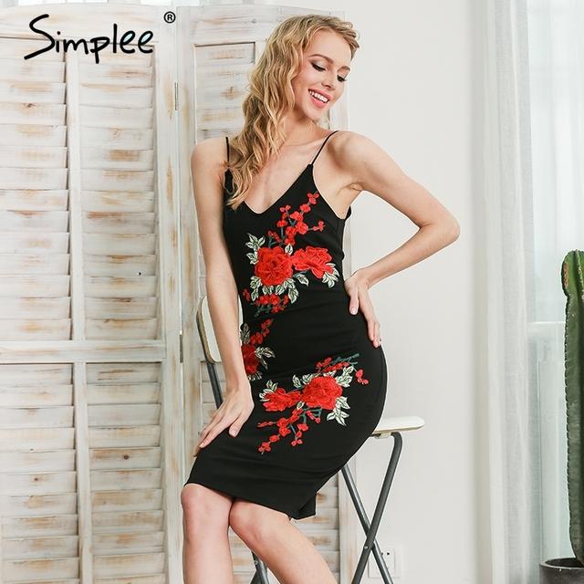 Simplee Embroidery flower v neck sexy dress Women vintage backless evening party bodycon dress Black zipper sundress midi dress