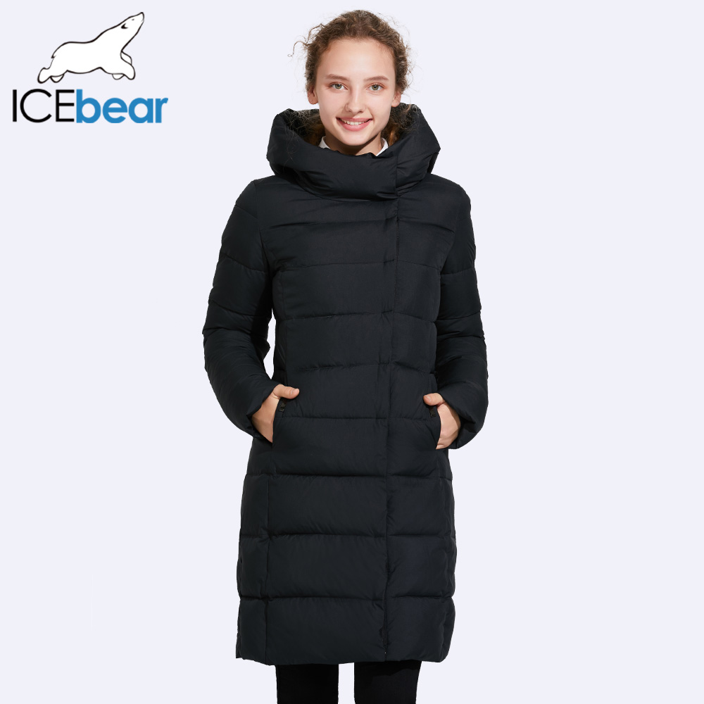 ICEbear 2017 Female Mid-Long Jacket High Collar Windproof Coat With Belt Show Perfect Figure 17G6135