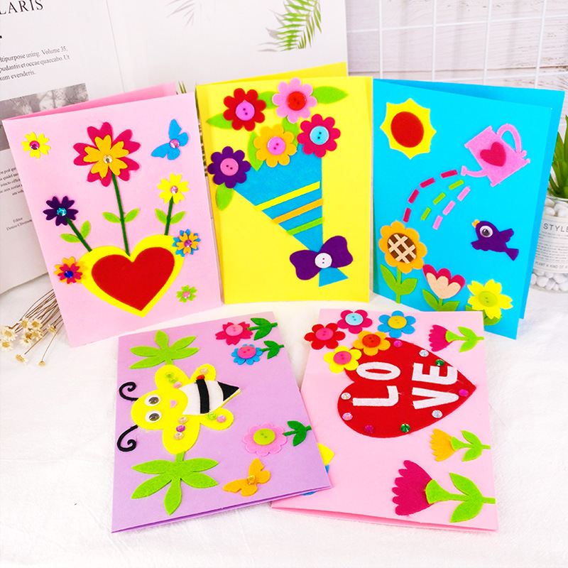2pcs diy handmade greeting cards kit non woven cloth