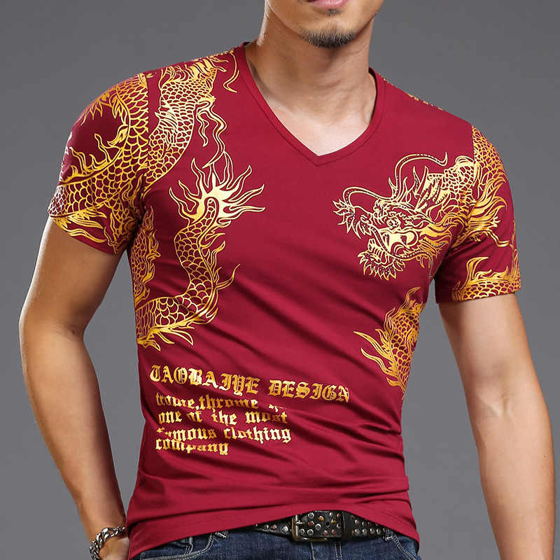 2019 Bronzing 3D Dragon Print T-shirt Heren Korte Mouwen T-shirts Mannelijke Hip Hop High Street Casual Wear Voor Slanke plus Size 4XL