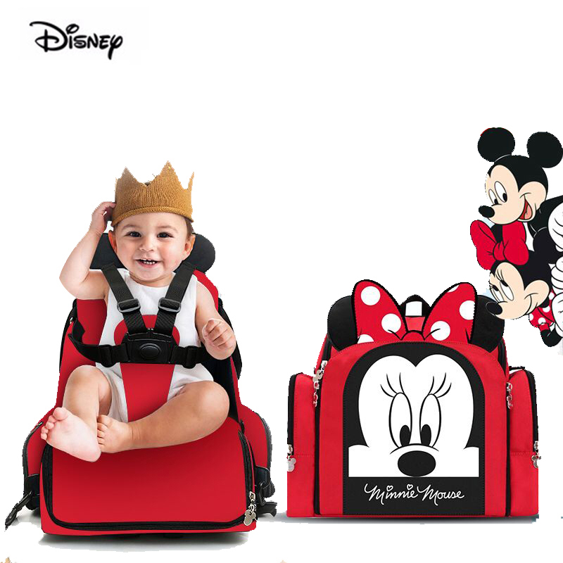 Disney Baby Dining Chair Bag Multifunctional Diaper Bag Portable Safety Seat Waterproof Mother Handbag Nappy Backpack