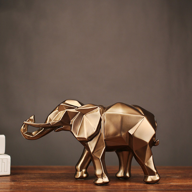 2018 New Resin Geometric Elephant Statue Crafts Wealth Luck Retro Copper Animal Statue Home Decoration Ornaments Wedding Gift