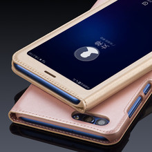 WeeYRN Open Window PU Leather Flip Case For Huawei P Smart Luxury Case View Quick Answer Case Cover for Huawei P Smart Funda
