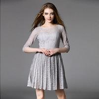 2016 High End Women Elegant Casual Aline Lace Grey Black Pink Crochet Bodycon Mini Party Dress