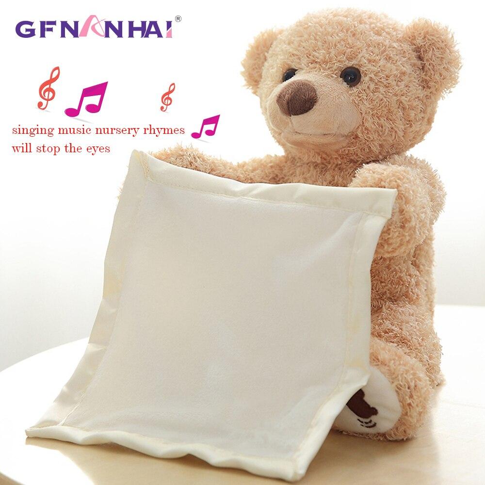 Elefante 30 cm Peek a Boo Teddy Bear Jogar Hide Seek Encantador Dos Desenhos Animados de Pelúcia para Crianças Presente de Aniversário Bonito Música Elétrica urso de Brinquedo de Pelúcia