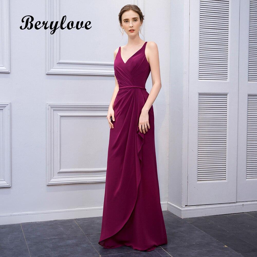 BeryLove Hot Selling Mermaid Grape Prom Dresses 2018 Long V Neck ...