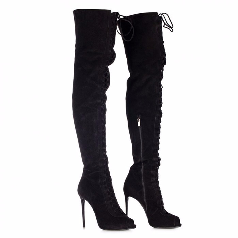 Spring Hot Sale Women Fashion Open Toe Black Suede Leather Over Knee Gladiator Boots Lace-up Cut-out High Heel Long Boots black cut out lace details cold shoulder long sleeves top