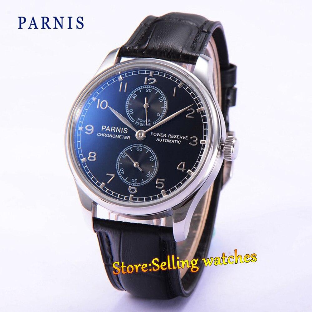 43mm parnis black dial Power Reserve Chronometer Automatic men Watch