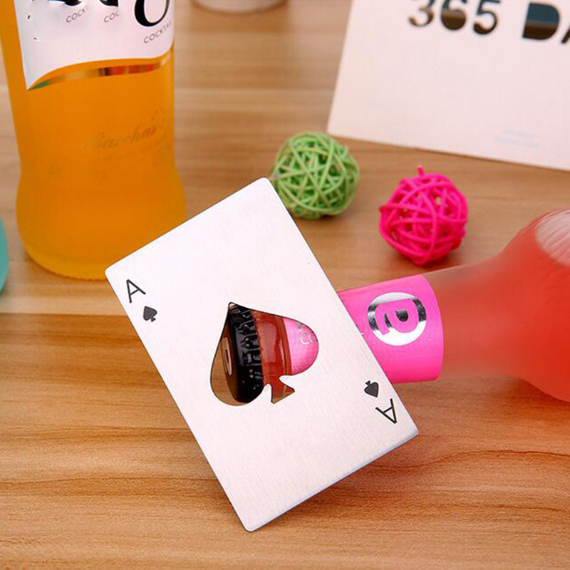 High Quality 1Pcs Poker Card Beer Bottle Opener Personalized Stainless Steel Credit Card Bottle Opener Kitchen Tool
