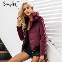 Simplee Velvet Cotton Padded Basic Jacket Coat Women Warm Wine Red Parkas Jackets Female 2017 Autumn