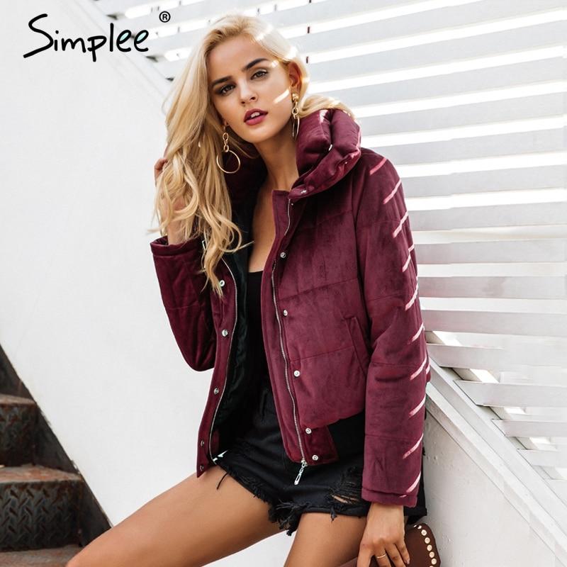 Simplee vinho vermelho de Veludo de algodão acolchoado casaco Mulheres jaqueta básica quente parkas casacos fêmea 2018 outono inverno outerwear casuais