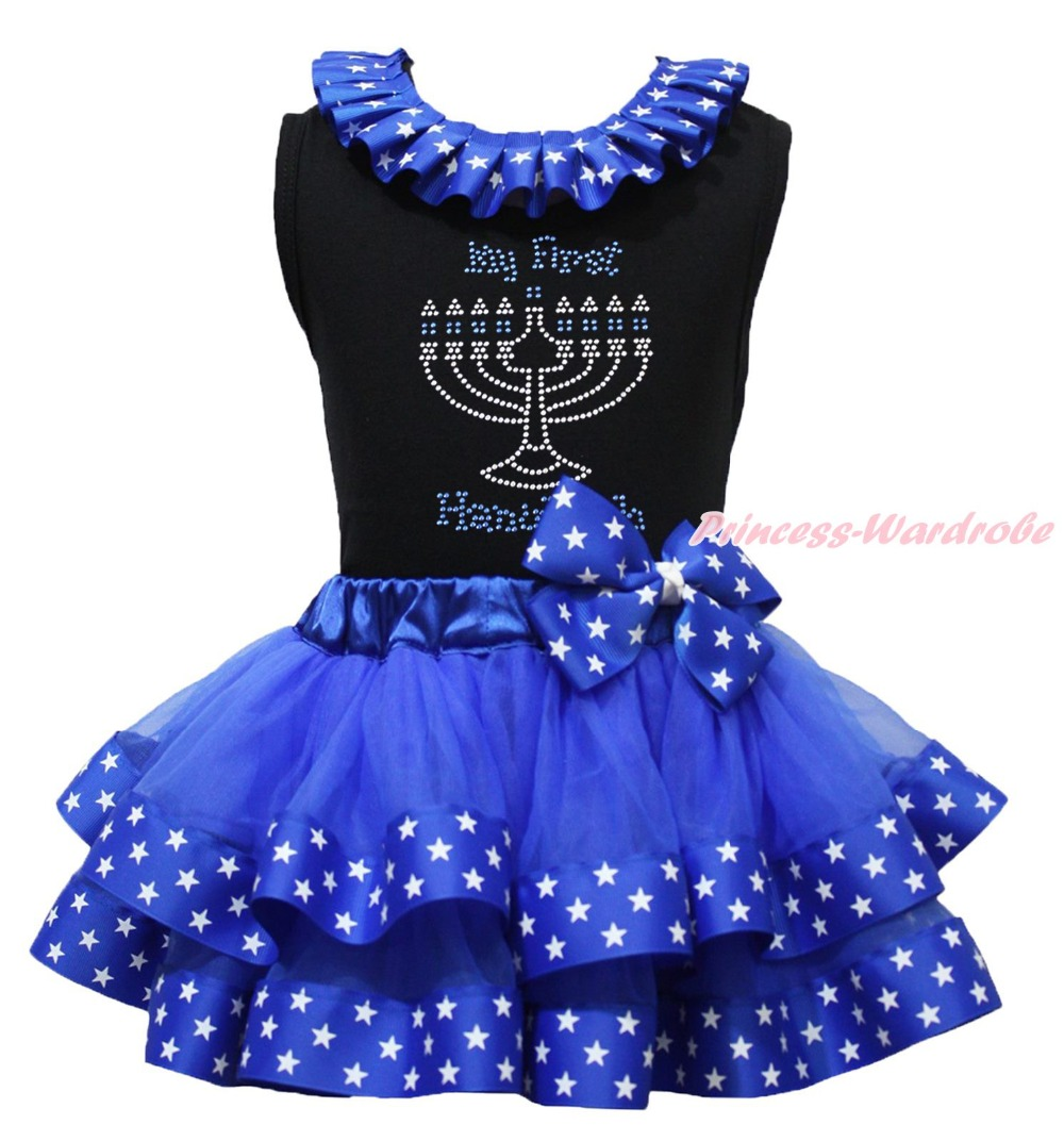 ФОТО My First Hanukkah Candle Black Top Blue Star Satin Trim Skirt Girl Outfit NB-8Y
